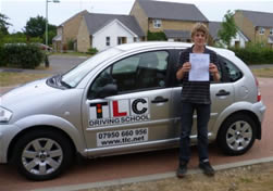 Student who passed his test first time with TLC Driving School