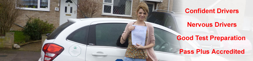 Confident and nervouspupils welcome, Pass Plus licensed: image shows pupil who passed with TLC Driving School